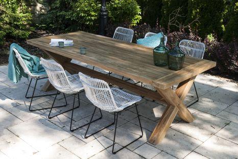 Záhradná jedálenská súprava so stolom LYON TEAK 240 cm III.