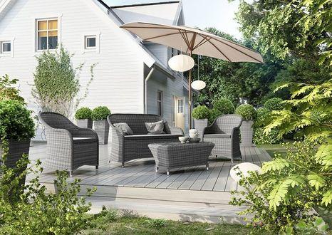 Záhradná ratanová sedacia súprava LEONARDO šedá