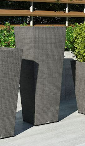 Záhradný kvetináč Scaleo 100 cm z umelého ratanu Royal šedý