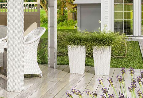 Záhradný ratanový kvetináč Scaleo 60 cm biely