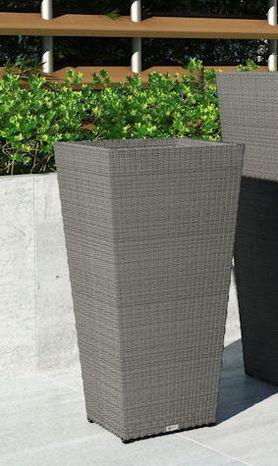 Záhradný ratanový kvetináč Scaleo 80 cm šedý