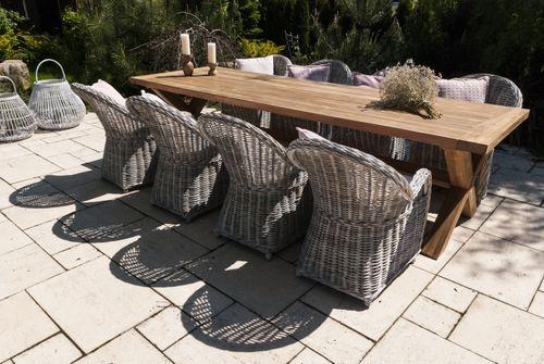 Záhradná jedálenská súprava so stolom LYON TEAK 300 cm II.