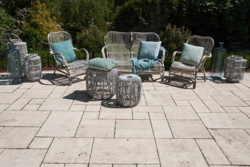 Záhradná ratanová sedacia súprava CANNES praná biela
