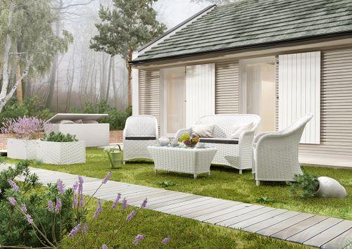Záhradná ratanová sedacia súprava LEONARDO biela