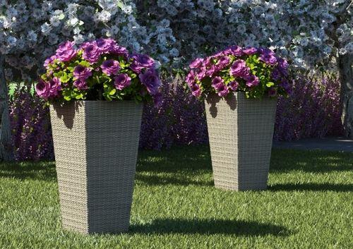 Záhradný kvetináč Scaleo 60 cm z umelého ratanu Royal piesok