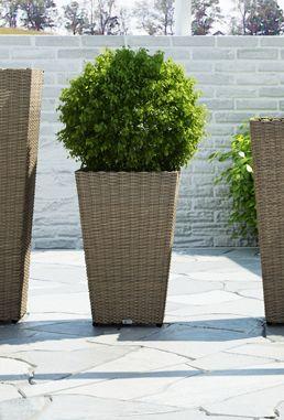 Záhradný ratanový kvetináč Scaleo 80 cm piesok